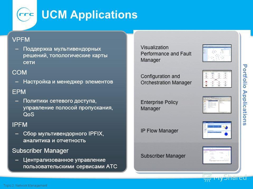 UCM Applications VPFM –Поддержка мультивендорных решений, топологические карты сети COM –Настройка и менеджер элементов EPM –Политики сетевого доступа, управление полосой пропускания, QoS IPFM –Сбор мультивендорного IPFIX, аналитика и отчетность Subs