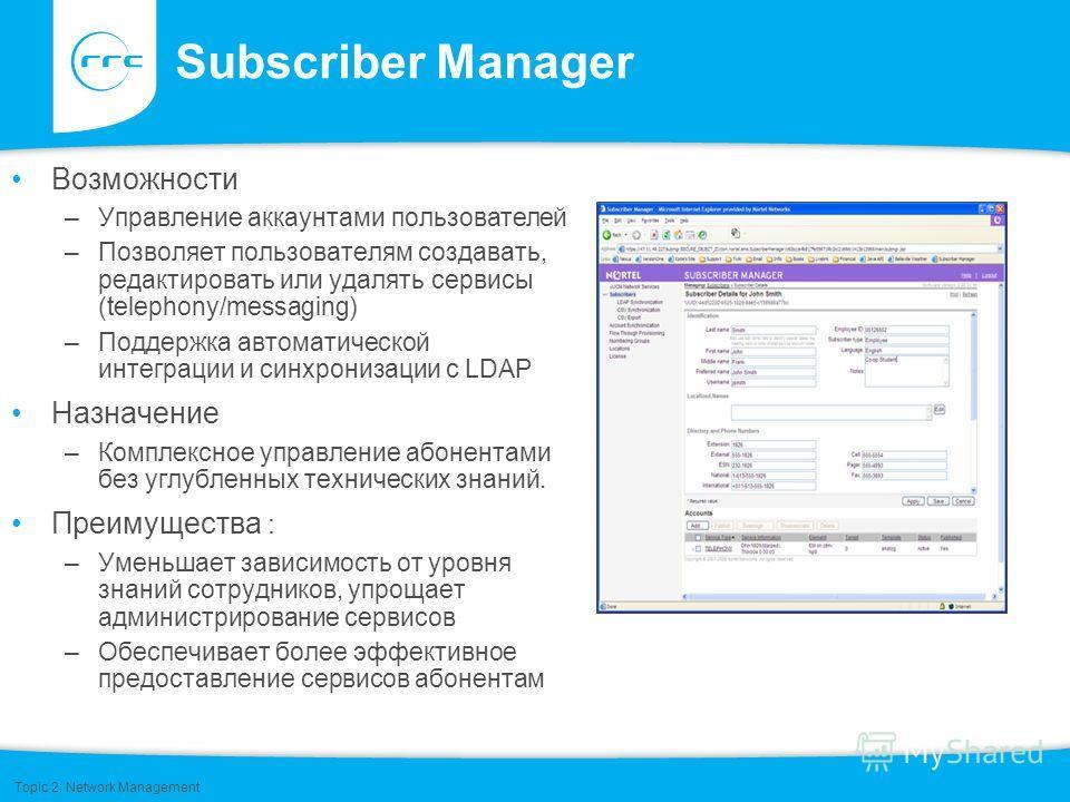 Subscriber Manager Возможности –Управление аккаунтами пользователей –Позволяет пользователям создавать, редактировать или удалять сервисы (telephony/messaging) –Поддержка автоматической интеграции и синхронизации с LDAP Назначение –Комплексное управл