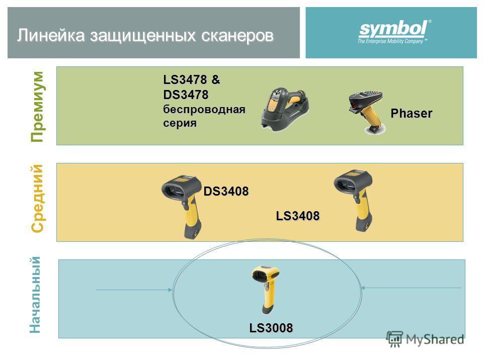 Линейка защищенных сканеров Начальный Средний Премиум LS3478 & DS3478 беспроводная серия Phaser DS3408 LS3408 LS3008