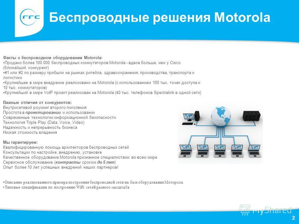 Беспроводные решения Motorola 2 Факты о беспроводном оборудовании Motorola: Продано более 100.000 беспроводных коммутаторов Motorola - вдвое больше, чем у Cisco (ближайший конкурент) #1 или #2 по размеру прибыли на рынках ритейла, здравоохранения, пр