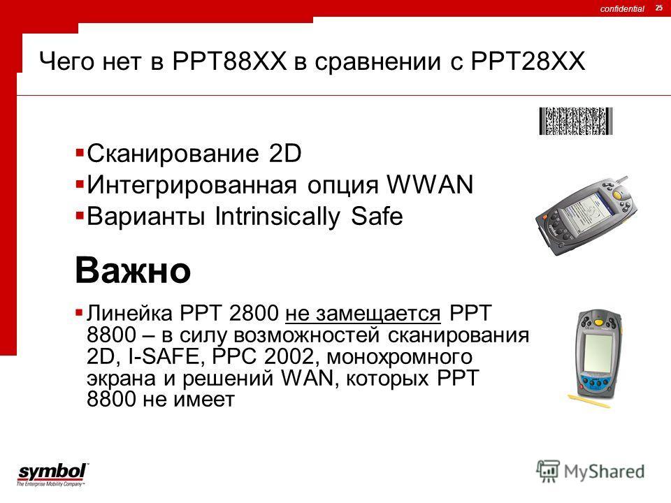 confidential 25 Сканирование 2D Интегрированная опция WWAN Варианты Intrinsically Safe Важно Линейка PPT 2800 не замещается PPT 8800 – в силу возможностей сканирования 2D, I-SAFE, PPC 2002, монохромного экрана и решений WAN, которых PPT 8800 не имеет