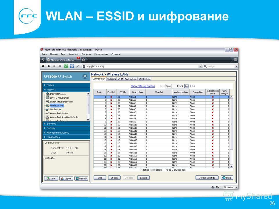 WLAN – ESSID и шифрование 26