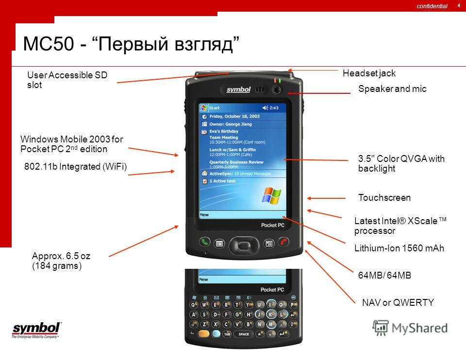 confidential 4 MC50 - Первый взгляд Latest Intel® XScale processor Windows Mobile 2003 for Pocket PC 2 nd edition 3.5