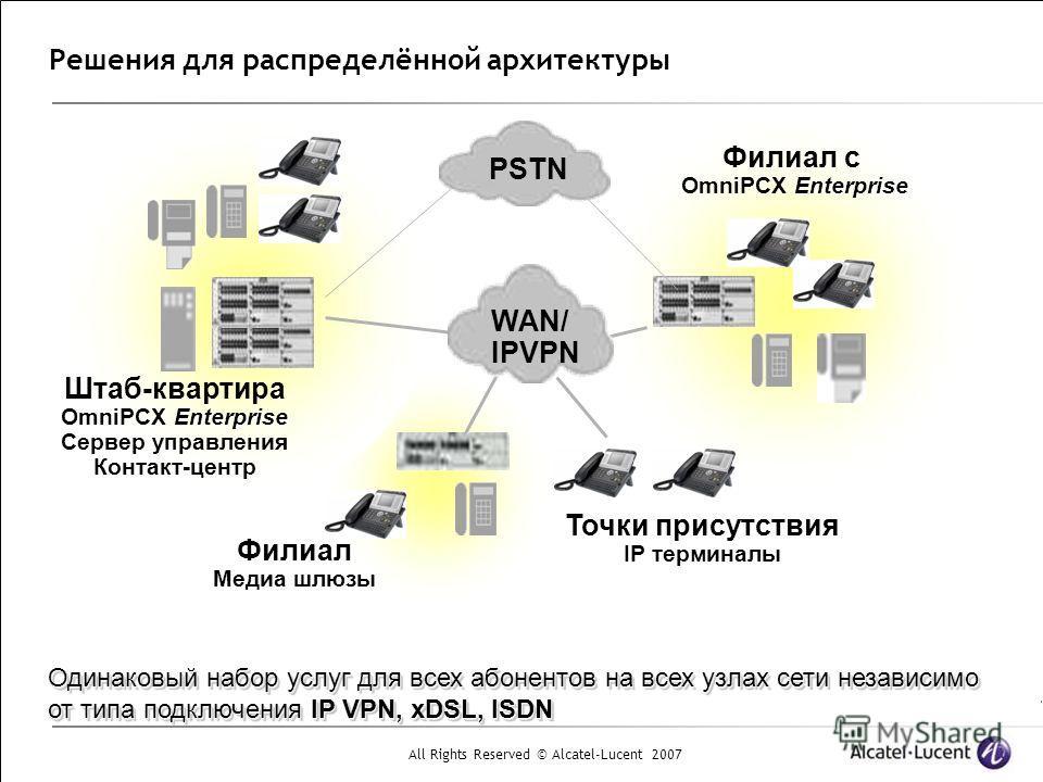 All Rights Reserved © Alcatel-Lucent 2007 Решения для распределённой архитектуры Штаб-квартира Enterprise OmniPCX Enterprise Сервер управления Контакт-центр Филиал с Enterprise OmniPCX Enterprise Точки присутствия IP терминалы Филиал Медиа шлюзы PSTN