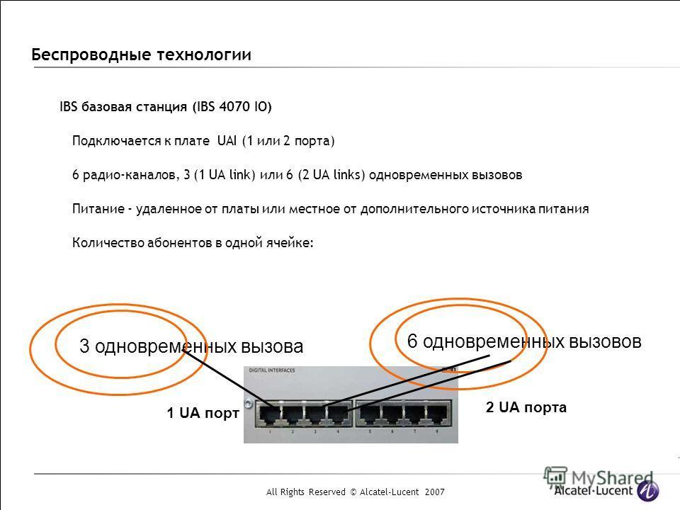 All Rights Reserved © Alcatel-Lucent 2007 Беспроводные технологии IBS базовая станция (IBS 4070 IO) Подключается к плате UAI (1 или 2 порта) 6 радио-каналов, 3 (1 UA link) или 6 (2 UA links) одновременных вызовов Питание - удаленное от платы или мест