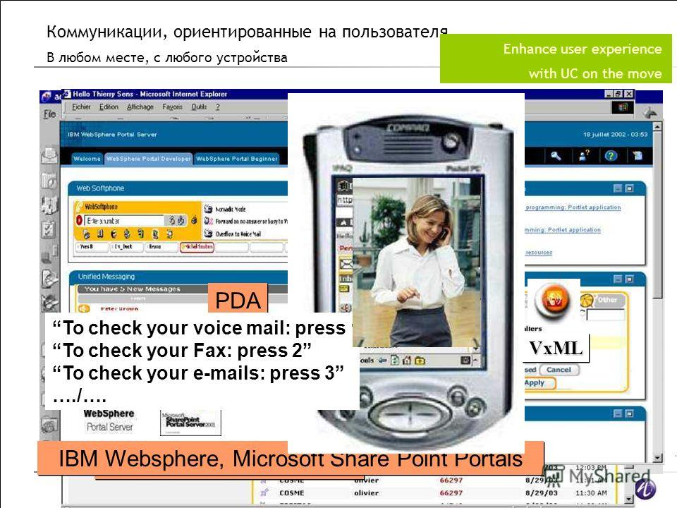 All Rights Reserved © Alcatel-Lucent 2007 * Microsoft Outlook, OWA Lotus Notes, iNotes, Web mail Alcatel Web Dashboard IBM Websphere, Microsoft Share Point Portals PDA To check your voice mail: press 1 To check your Fax: press 2 To check your e-mails