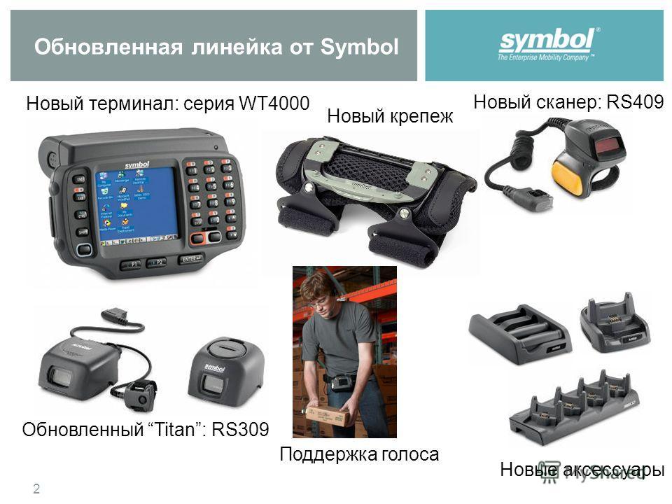 2 Обновленная линейка от Symbol Новый сканер: RS409 Обновленный Titan: RS309 Новый терминал: серия WT4000 Новый крепеж Поддержка голоса Новые аксессуары