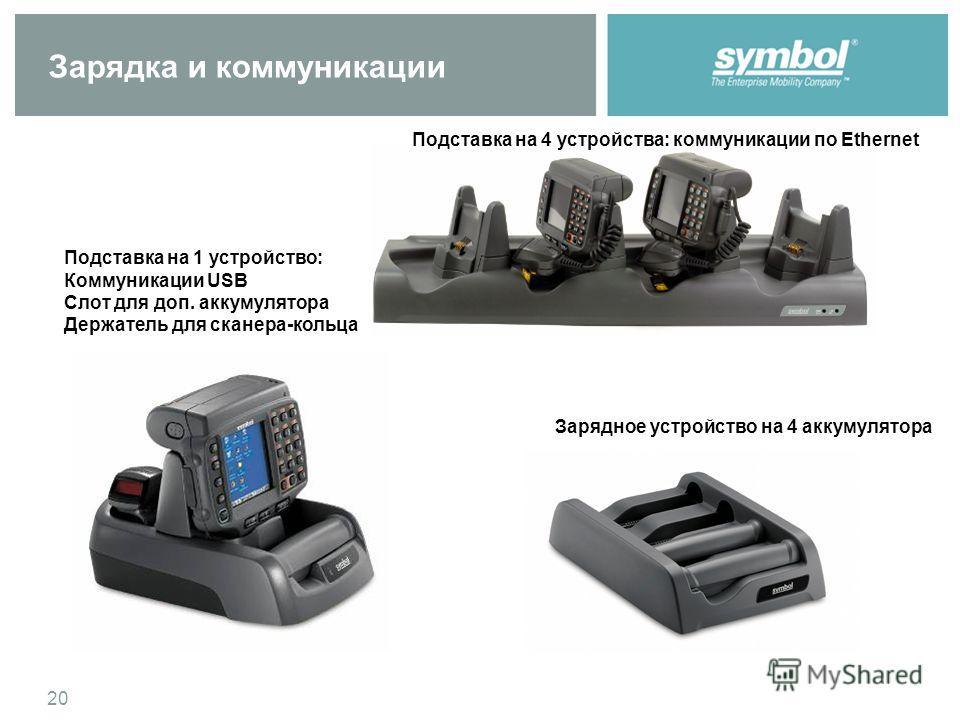 20 Зарядка и коммуникации Подставка на 1 устройство: Коммуникации USB Слот для доп. аккумулятора Держатель для сканера-кольца Подставка на 4 устройства: коммуникации по Ethernet Зарядное устройство на 4 аккумулятора