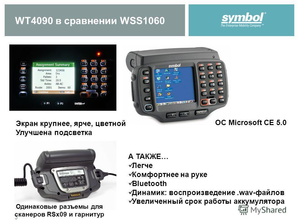 3 WT4090 в сравнении WSS1060 ОС Microsoft CE 5.0 Одинаковые разъемы для сканеров RSx09 и гарнитур А ТАКЖЕ… Легче Комфортнее на руке Bluetooth Динамик: воспроизведение.wav-файлов Увеличенный срок работы аккумулятора Экран крупнее, ярче, цветной Улучше