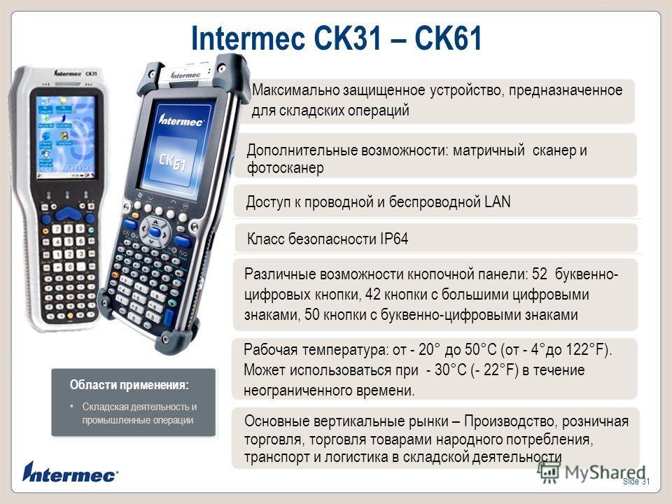 Slide 31 Intermec CK31 – CK61 Дополнительные возможности: матричный сканер и фотосканер Доступ к проводной и беспроводной LAN Класс безопасности IP64 Различные возможности кнопочной панели: 52 буквенно- цифровых кнопки, 42 кнопки с большими цифровыми
