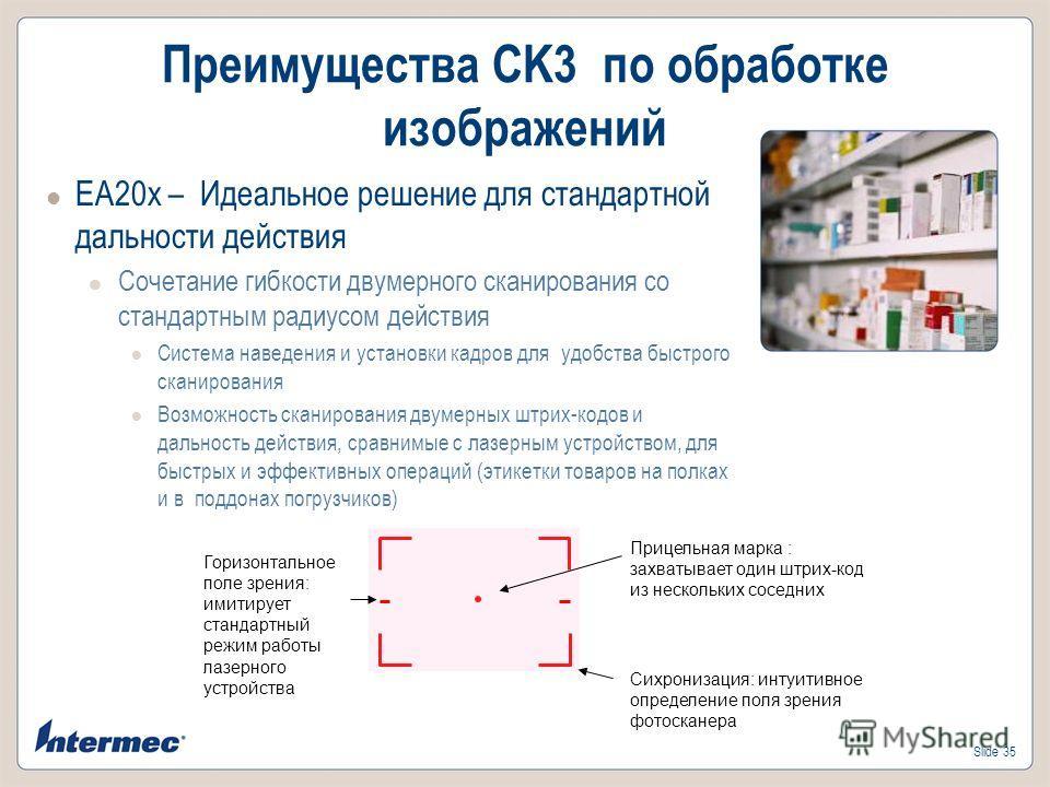 Slide 35 Преимущества CK3 по обработке изображений EA20x – Идеальное решение для стандартной дальности действия Сочетание гибкости двумерного сканирования со стандартным радиусом действия Система наведения и установки кадров для удобства быстрого ска