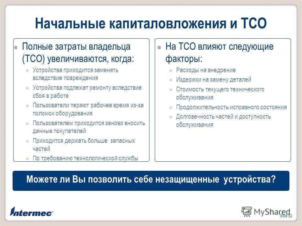 Slide 62 Начальные капиталовложения и TCO Полные затраты владельца (TCO) увеличиваются, когда: Устройства приходится заменять вследствие повреждения Устройства подлежат ремонту вследствие сбоя в работе Пользователи теряют рабочее время из-за поломок