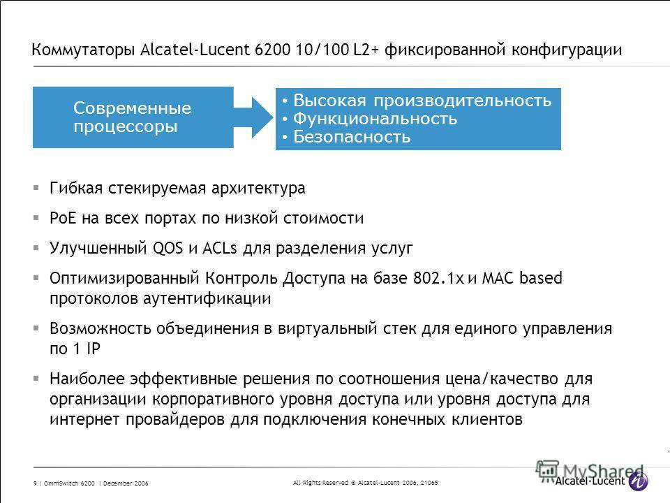All Rights Reserved © Alcatel-Lucent 2006, 21065 9 | OmniSwitch 6200 | December 2006 Коммутаторы Alcatel-Lucent 6200 10/100 L2+ фиксированной конфигурации Гибкая стекируемая архитектура PoE на всех портах по низкой стоимости Улучшенный QOS и ACLs для