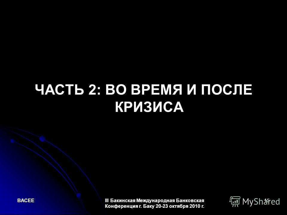 BACEEIII Бакинская Международная Банковская Конференция г. Баку 20-23 октября 2010 г. 15 ЧАСТЬ 2: ВО ВРЕМЯ И ПОСЛЕ КРИЗИСА