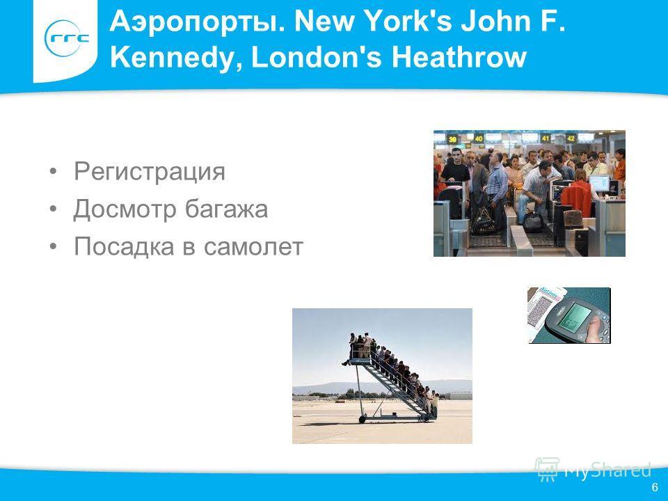 Аэропорты. New York's John F. Kennedy, London's Heathrow 6 Регистрация Досмотр багажа Посадка в самолет