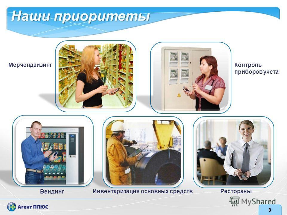 8 Инвентаризация основных средств Контроль приборов учета Мерчендайзинг Вендинг Наши приоритеты Рестораны
