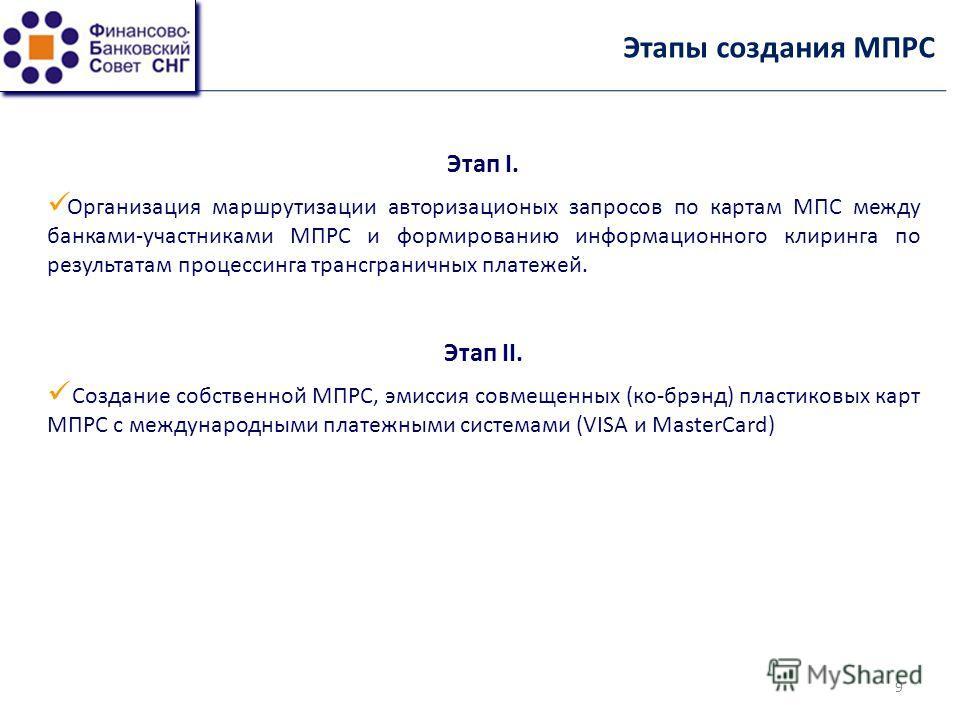 Этапы создания МПРС Этап I. Организация маршрутизации авторизационых запросов по картам МПС между банками-участниками МПРС и формированию информационного клиринга по результатам процессинга трансграничных платежей. Этап II. Создание собственной МПРС,