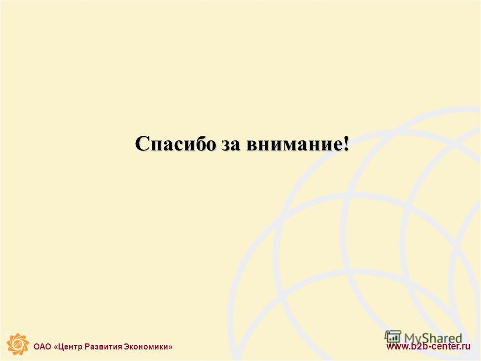 ОАО «Центр Развития Экономики» www.b2b-center.ru Спасибо за внимание!