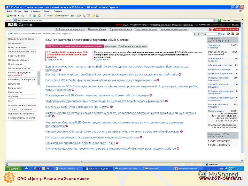 ОАО «Центр Развития Экономики» www.b2b-center.ru