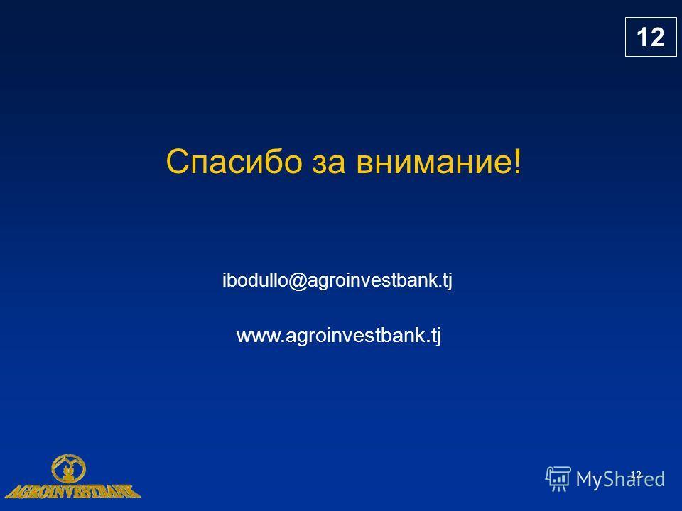 12 Спасибо за внимание! www.agroinvestbank.tj ibodullo@agroinvestbank.tj