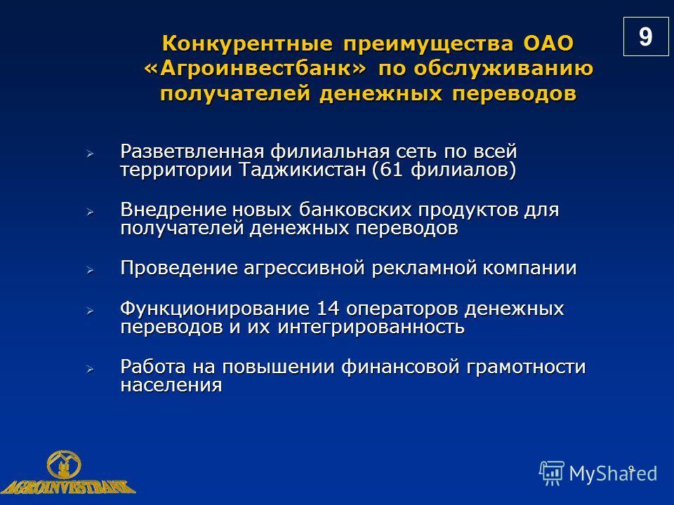 9 Конкурентные преимущества ОАО «Агроинвестбанк» по обслуживанию получателей денежных переводов Разветвленная филиальная сеть по всей территории Таджикистан (61 филиалов) Разветвленная филиальная сеть по всей территории Таджикистан (61 филиалов) Внед