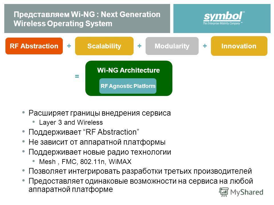 Представляем Wi-NG : Next Generation Wireless Operating System Расширяет границы внедрения сервиса Layer 3 and Wireless Поддерживает RF Abstraction Не зависит от аппаратной платформы Поддерживает новые радио технологии Mesh, FMC, 802.11n, WiMAX Позво