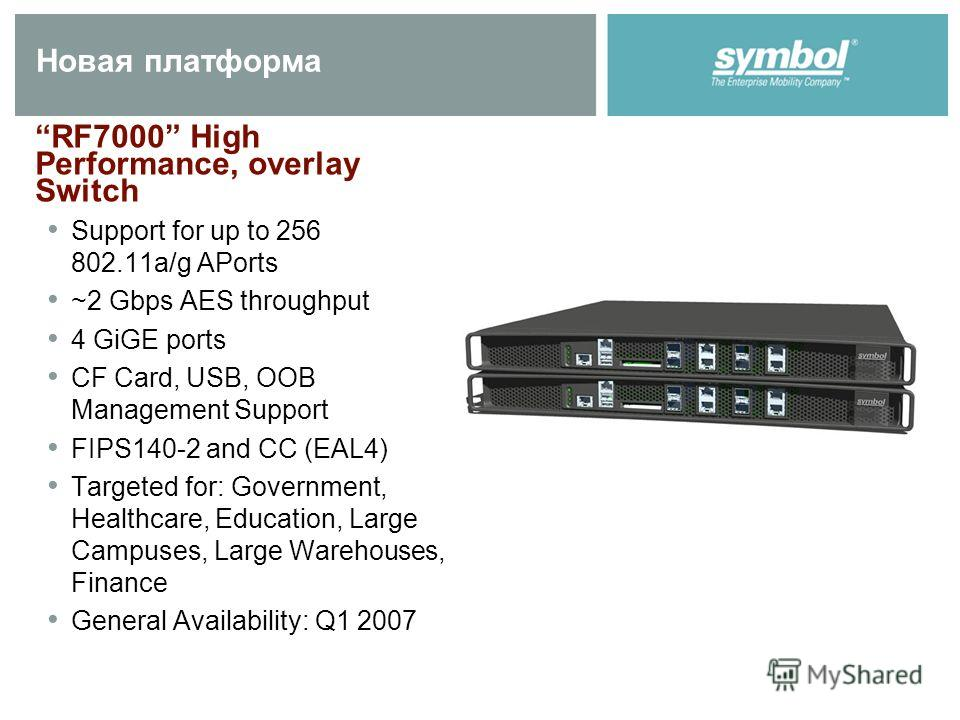 Новая платформа RF7000 High Performance, overlay Switch Support for up to 256 802.11a/g APorts ~2 Gbps AES throughput 4 GiGE ports CF Card, USB, OOB Management Support FIPS140-2 and CC (EAL4) Targeted for: Government, Healthcare, Education, Large Cam