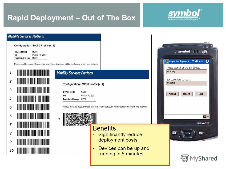 Rapid Deployment – Out of The Box Benefits - -Significantly reduce deployment costs - -Devices can be up and running in 5 minutes