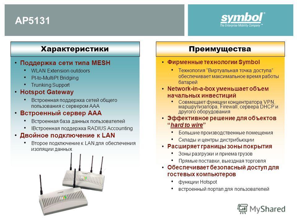 AP5131 Поддержка сети типа MESH WLAN Extension outdoors Pt-to-MultiPt Bridging Trunking Support Hotspot Gateway Встроенная поддержка сетей общего пользования с сервером AAA Встроенный сервер AAA Встроенная база данных пользователей IВстроенная поддер