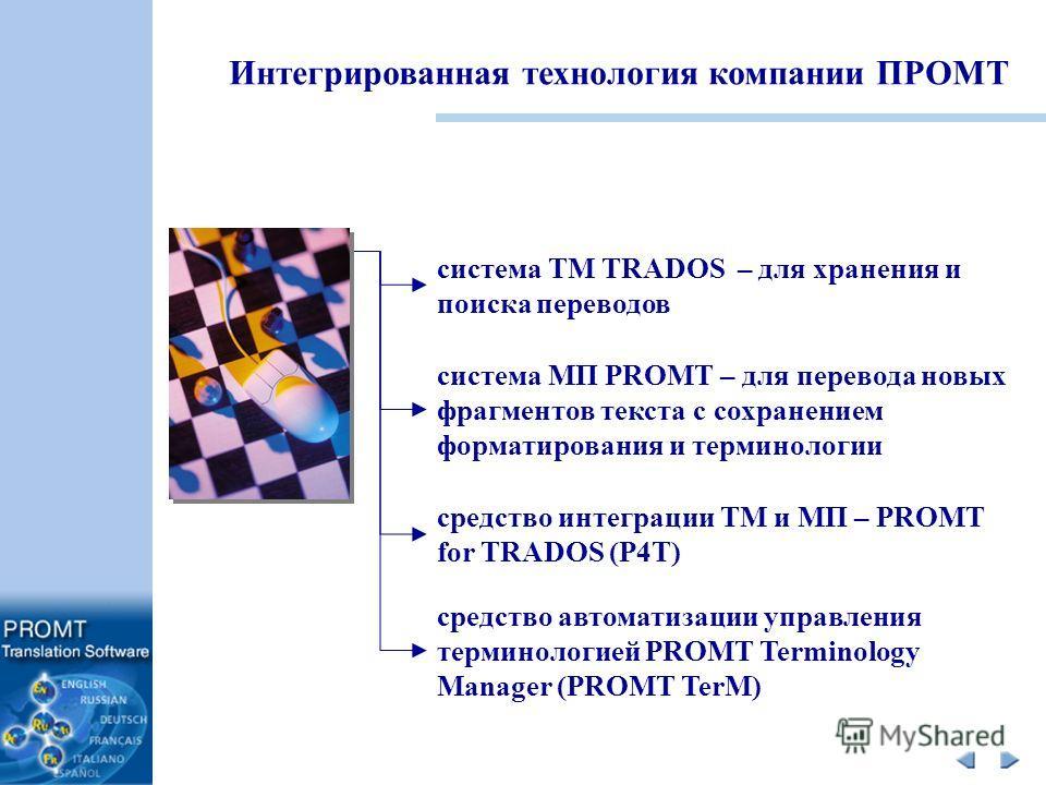 система TM TRADOS – для хранения и поиска переводов система МП PROMT – для перевода новых фрагментов текста с сохранением форматирования и терминологии средство интеграции TM и МП – PROMT for TRADOS (P4T) средство автоматизации управления терминологи