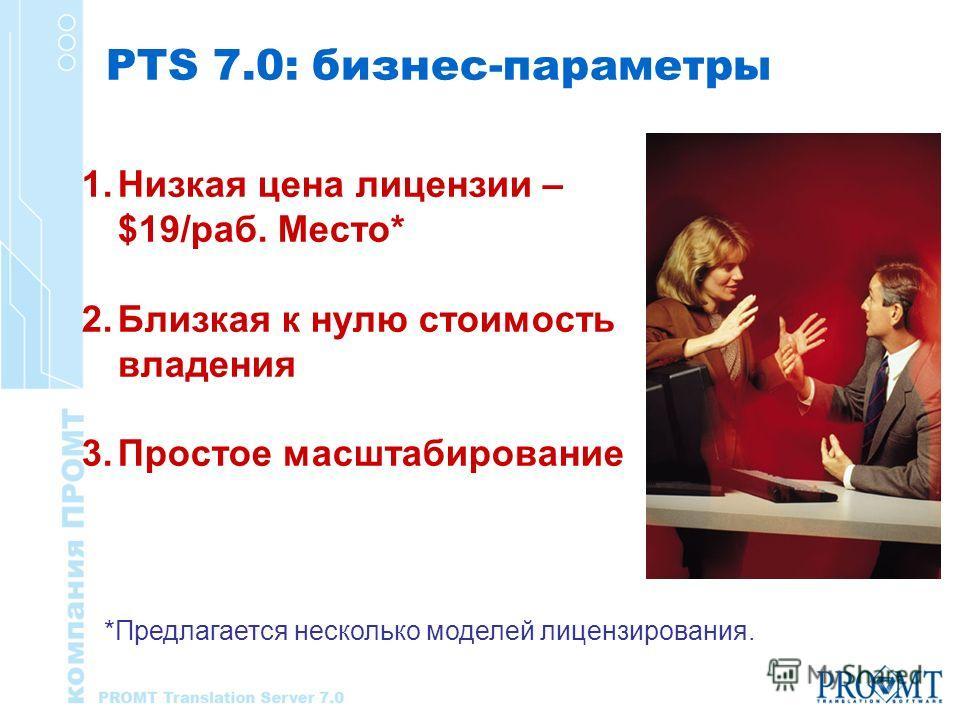PTS 7.0: бизнес-параметры 1.Низкая цена лицензии – $19/раб. Место* 2.Близкая к нулю стоимость владения 3.Простое масштабирование *Предлагается несколько моделей лицензирования.