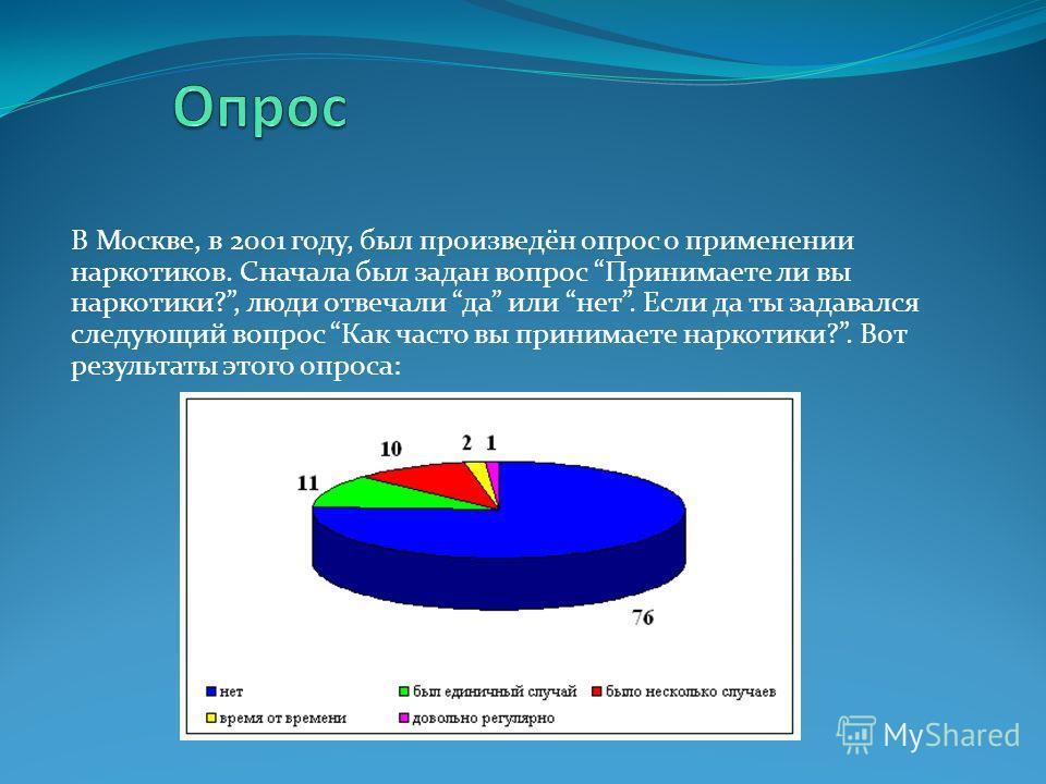 В Москве, в 2001 году, был произведён опрос о применении наркотиков. Сначала был задан вопрос Принимаете ли вы наркотики?, люди отвечали да или нет. Если да ты задавался следующий вопрос Как часто вы принимаете наркотики?. Вот результаты этого опроса