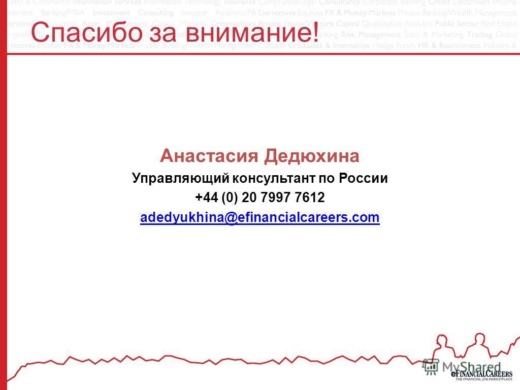 Спасибо за внимание! Анастасия Дедюхина Управляющий консультант по России +44 (0) 20 7997 7612 adedyukhina@efinancialcareers.com