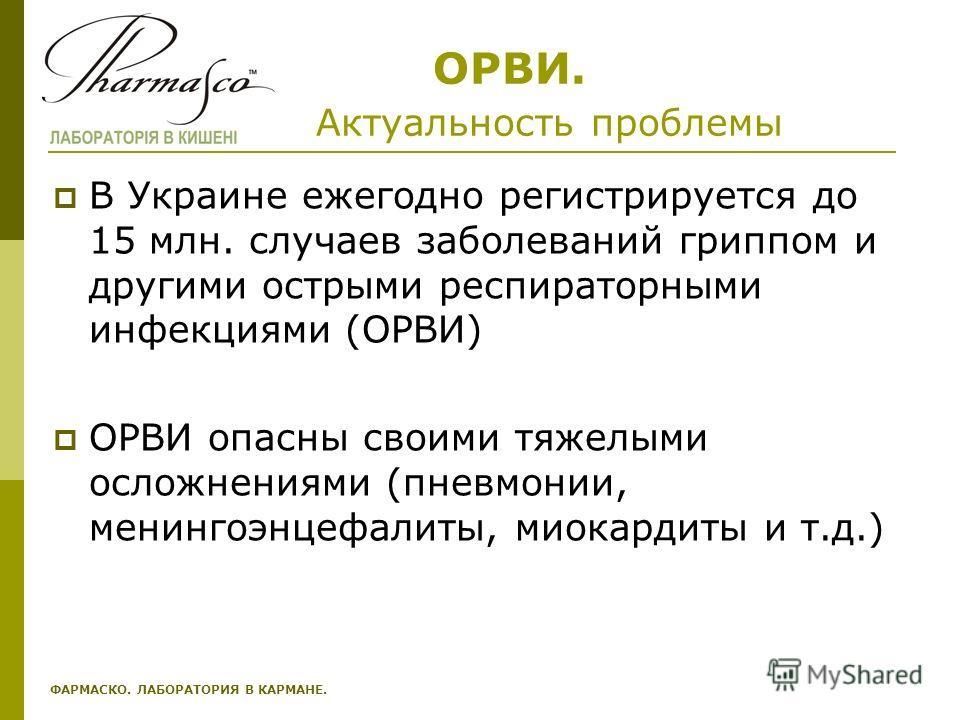 ОРВИ. Актуальность проблемы В Украине ежегодно регистрируется до 15 млн. случаев заболеваний гриппом и другими острыми респираторными инфекциями (ОРВИ) ОРВИ опасны своими тяжелыми осложнениями (пневмонии, менингоэнцефалиты, миокардиты и т.д.) ФАРМАСК