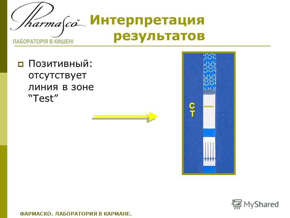Интерпретация результатов Позитивный: отсутствует линия в зоне Test C C T T ФАРМАСКО. ЛАБОРАТОРИЯ В КАРМАНЕ.