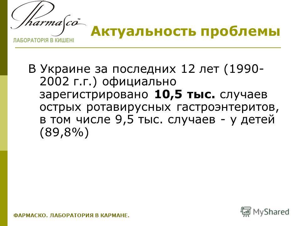 Актуальность проблемы В Украине за последних 12 лет (1990- 2002 г.г.) официально зарегистрировано 10,5 тыс. случаев острых ротавирусных гастроэнтеритов, в том числе 9,5 тыс. случаев - у детей (89,8%) ФАРМАСКО. ЛАБОРАТОРИЯ В КАРМАНЕ.