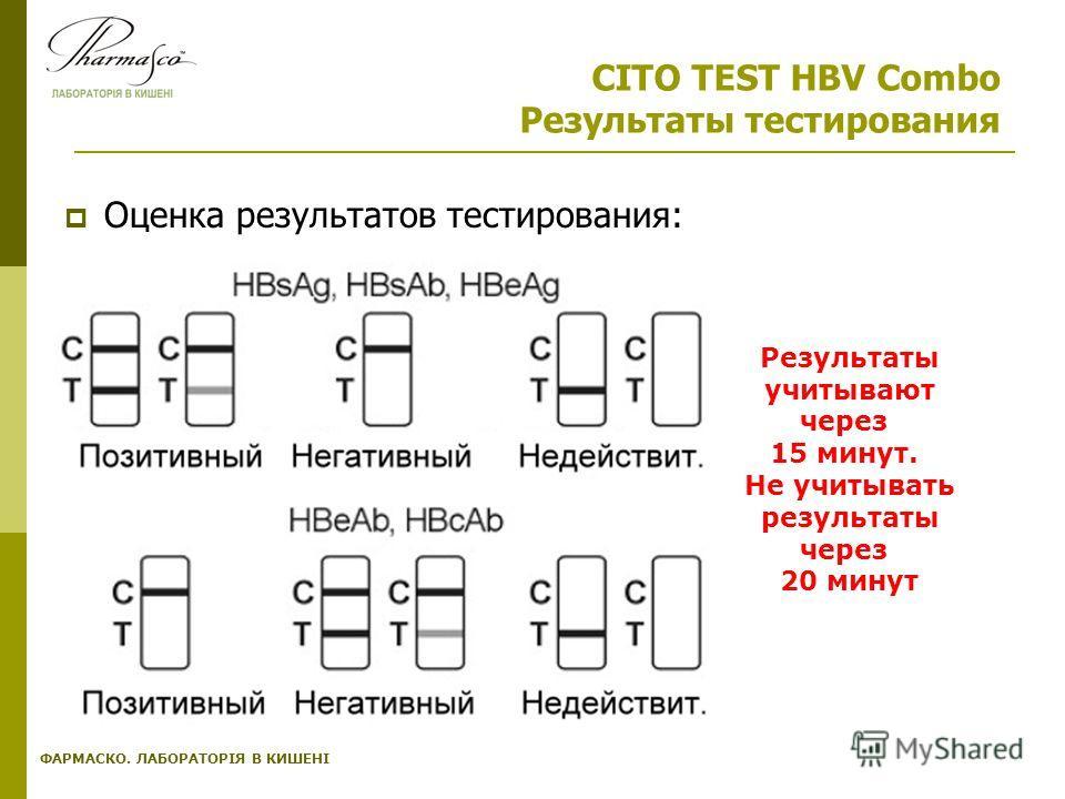 ФАРМАСКО. ЛАБОРАТОРІЯ В КИШЕНІ CITO TEST HBV Combo Результаты тестирования Оценка результатов тестирования: Результаты учитывают через 15 минут. Не учитывать результаты через 20 минут