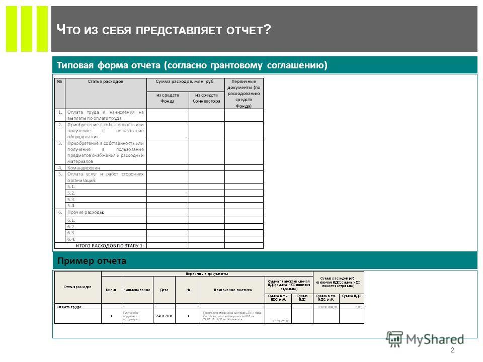 Ч ТО ИЗ СЕБЯ ПРЕДСТАВЛЯЕТ ОТЧЕТ ? 2 Типовая форма отчета (согласно грантовому соглашению ) Пример отчета