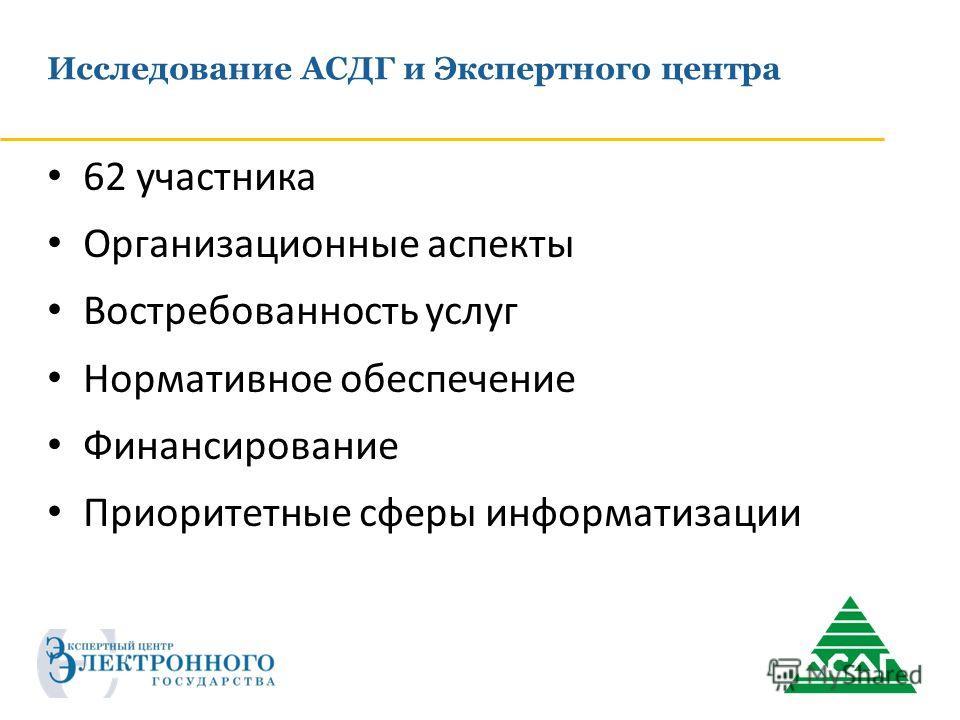 Исследование АСДГ и Экспертного центра 62 участника Организационные аспекты Востребованность услуг Нормативное обеспечение Финансирование Приоритетные сферы информатизации