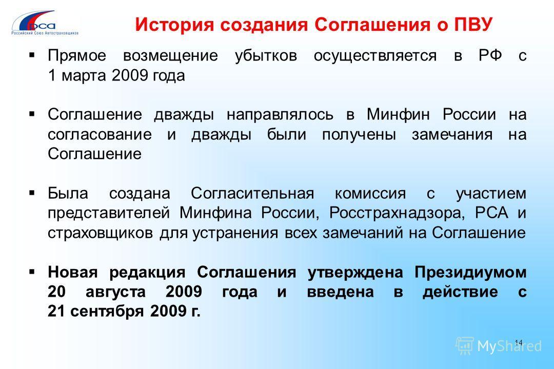 История создания Соглашения о ПВУ Прямое возмещение убытков осуществляется в РФ с 1 марта 2009 года Соглашение дважды направлялось в Минфин России на согласование и дважды были получены замечания на Соглашение Была создана Согласительная комиссия с у