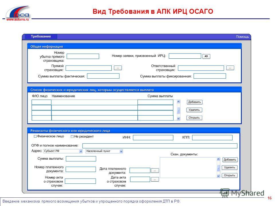 Введение механизма прямого возмещения убытков и упрощенного порядка оформления ДТП в РФ. 16 Вид Требования в АПК ИРЦ ОСАГО