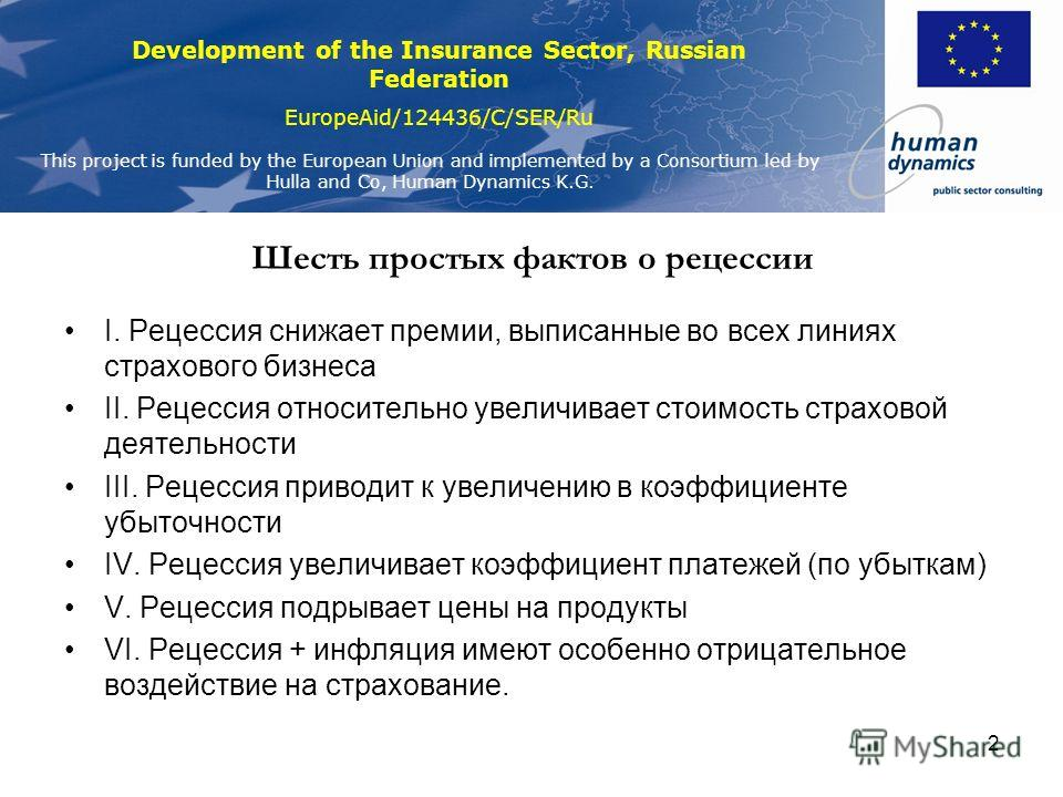 Development of the Insurance Sector, Russian Federation EuropeAid/124436/C/SER/Ru This project is funded by the European Union and implemented by a Consortium led by Hulla and Co, Human Dynamics K.G. 2 Шесть простых фактов о рецессии I. Рецессия сниж