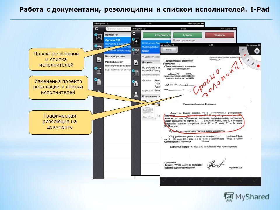 Работа с документами, резолюциями и списком исполнителей. I-Pad Проект резолюции и списка исполнителей Изменения проекта резолюции и списка исполнителей Графическая резолюция на документе