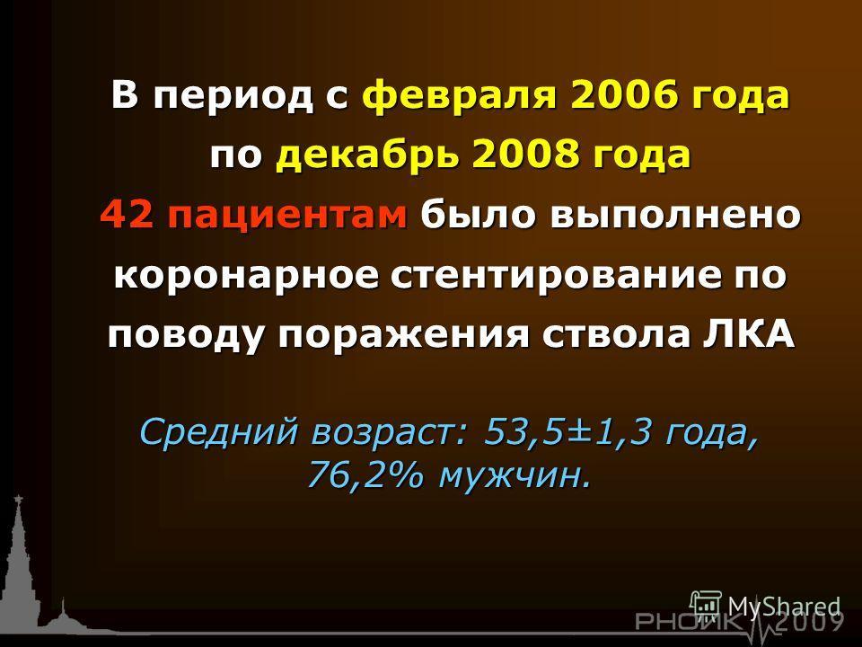 В период с февраля 2006 года по декабрь 2008 года 42 пациентам было выполнено коронарное стентирование по поводу поражения ствола ЛКА Средний возраст: 53,5±1,3 года, 76,2% мужчин.
