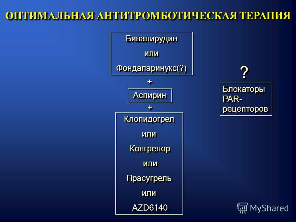 БивалирудинилиФондапаринукс(?)БивалирудинилиФондапаринукс(?) АспиринАспирин Клопидогрелили Конгрелор Конгрелор или илиПрасугрельили AZD6140 AZD6140Клопидогрелили Конгрелор Конгрелор или илиПрасугрельили AZD6140 AZD6140 ОПТИМАЛЬНАЯ АНТИТРОМБОТИЧЕСКАЯ