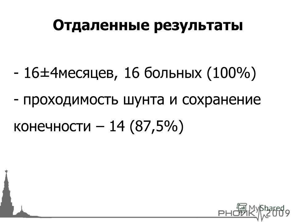 - 16±4месяцев, 16 больных (100%) - проходимость шунта и сохранение конечности – 14 (87,5%) Отдаленные результаты