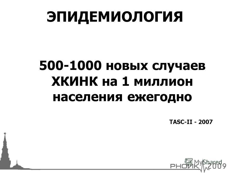 500-1000 новых случаев ХКИНК на 1 миллион населения ежегодно TASC-II - 2007 ЭПИДЕМИОЛОГИЯ