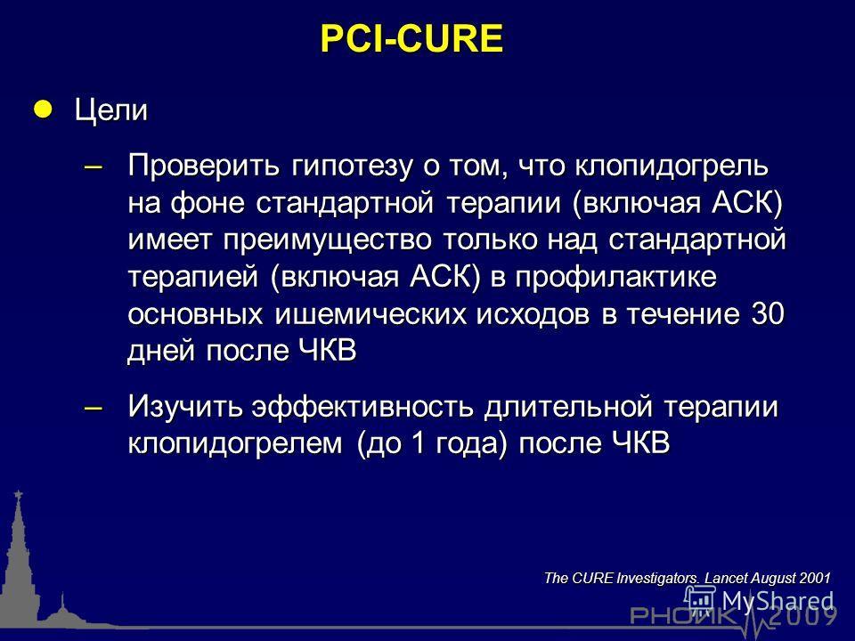 PCI-CURE lЦели –Проверить гипотезу о том, что клопидогрель на фоне стандартной терапии (включая АСК) имеет преимущество только над стандартной терапией (включая АСК) в профилактике основных ишемических исходов в течение 30 дней после ЧКВ –Изучить эфф