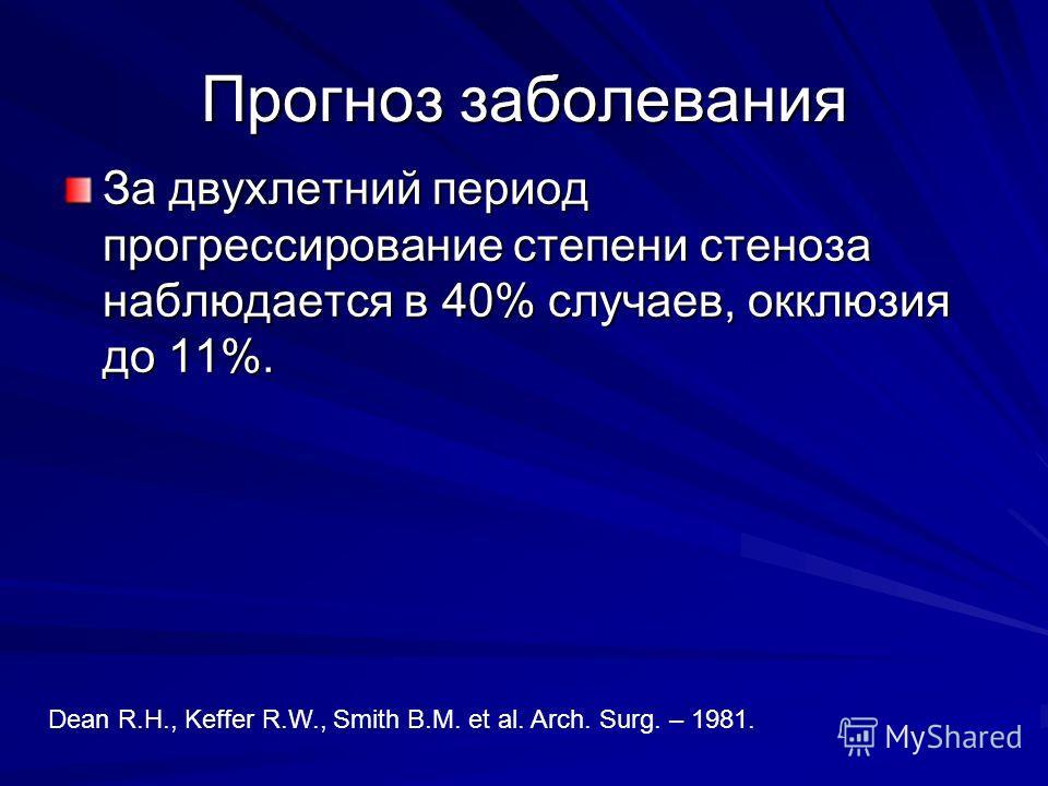 Прогноз заболевания За двухлетний период прогрессирование степени стеноза наблюдается в 40% случаев, окклюзия до 11%. Dean R.H., Keffer R.W., Smith B.M. et al. Arch. Surg. – 1981.