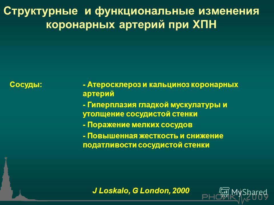 Сосуды:- Атеросклероз и кальциноз коронарных артерий - Гиперплазия гладкой мускулатуры и утолщение сосудистой стенки - Поражение мелких сосудов - Повышенная жесткость и снижение податливости сосудистой стенки J Loskalo, G London, 2000 Структурные и ф
